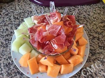 Brochettes melon et jambon
