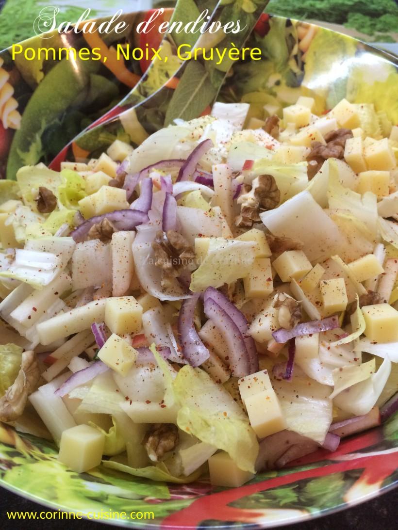 Salade d'endives gruyère noix