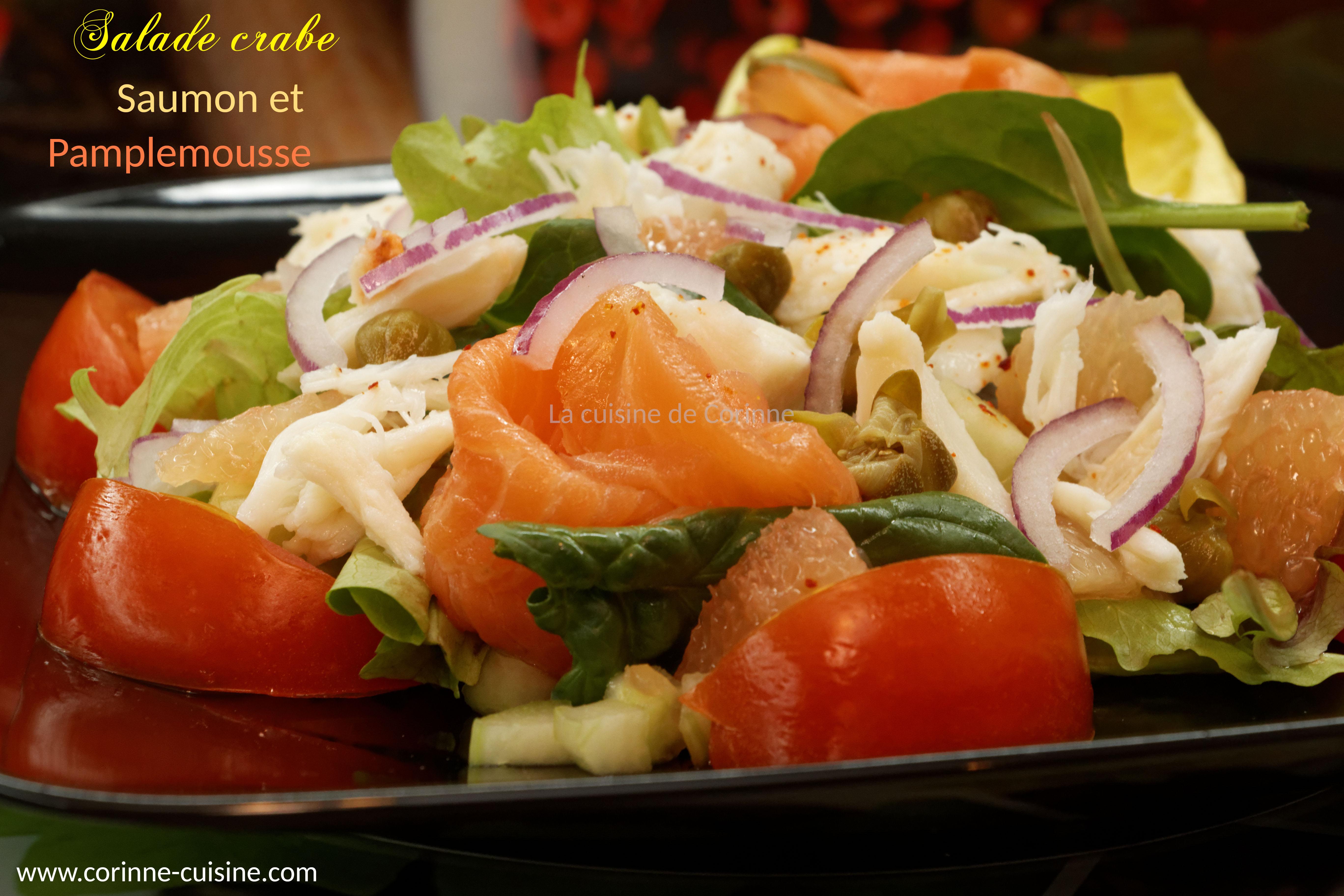 Salade crabe saumon fumé et pamplemousse
