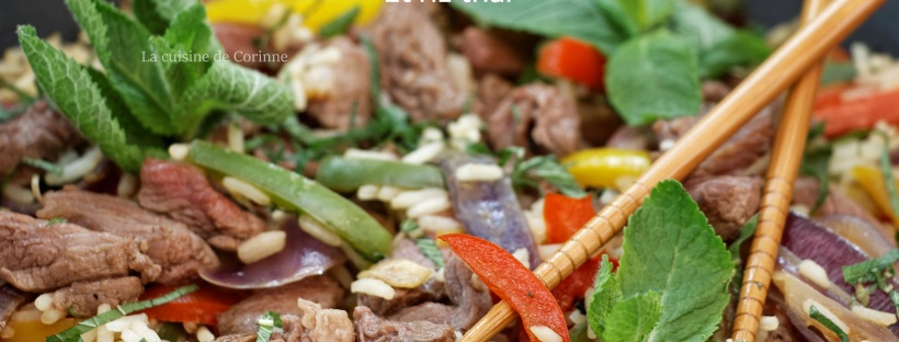 Wok boeuf et riz thai