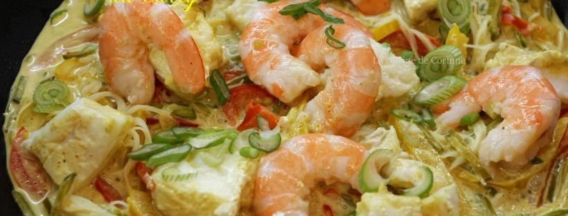 Wok poisson et crevettes