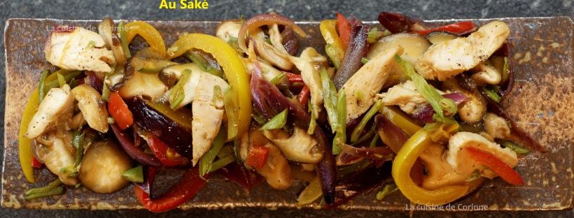 Wok de poulet au saké