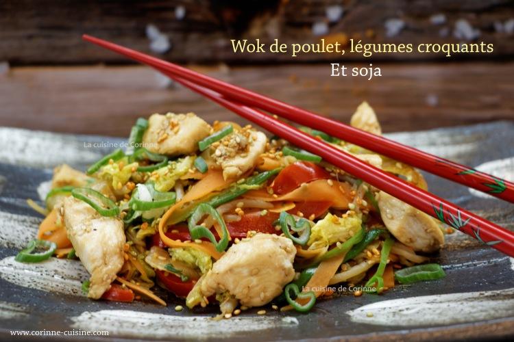 Wok de poulet légumes croquants et soja
